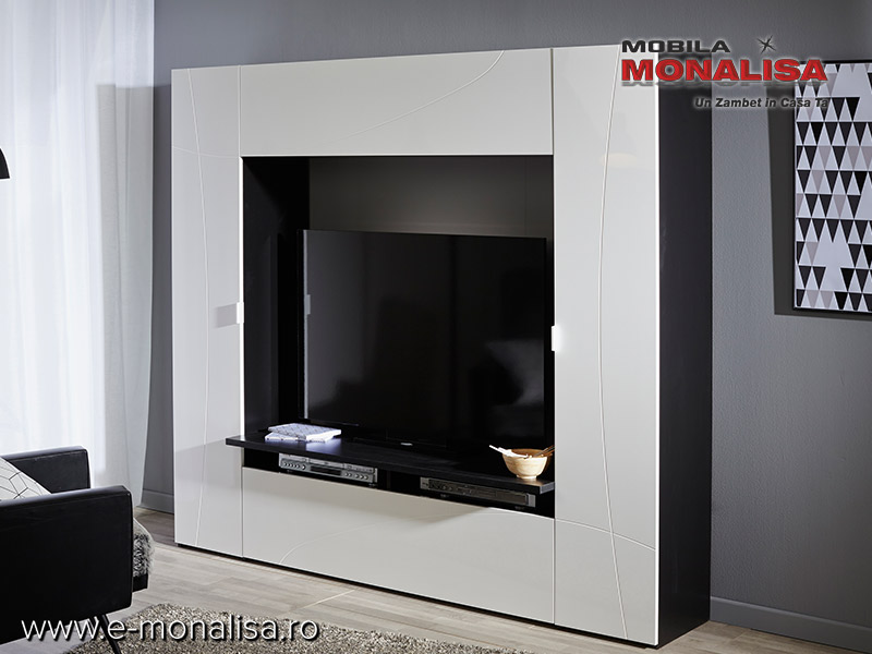 Mobila living modern think mdf alb lucios transport for Mobili living moderni