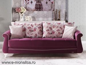 Canapea de Lux extensibila si Fotolii Belissa mov
