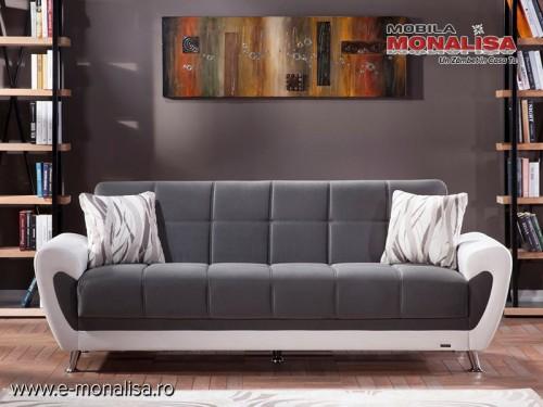 Canapea extensibila 3 locuri moderna relaxa cu lada Duru