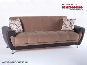 Canapea 3 locuri extensibila cu lada Duru maro