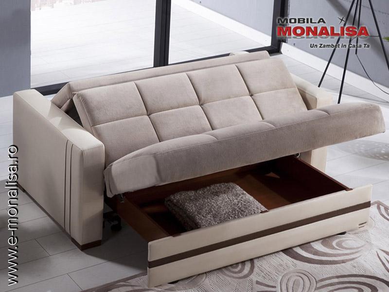 Canapea 2 locuri extensibila cu lada kolin canapele pat for Canapea pat