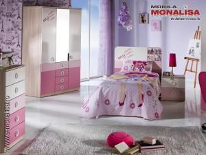 Mobila tineret dormitor fete roz Portivo cu birou