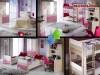 Paturi Suprapuse Mobila Dormitor 2 Copii Roz Portivo