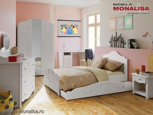 Dormitor copii ieftin MDF Alb Sweet