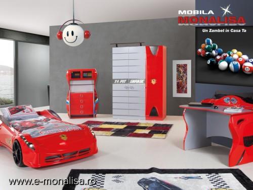 Dormitor Copii Turbo Cars Rosu
