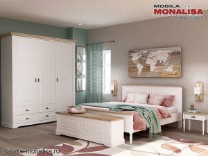 Dormitor Clasic alb Bastide - MDF si Lemn stejar natur
