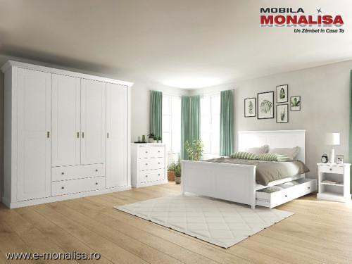 Set Mobila Dormitor Alb Clemence - Mdf - Lemn - Pal