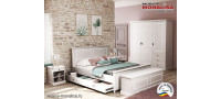 Vanzare Dormitor clasic Clemence gri deschis cu alb - Mdf Bucuresti