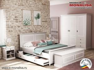 Dormitor clasic Clemence gri deschis cu alb - Mdf