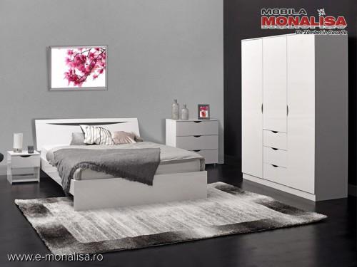 Mobila dormitor modern Alb Lucios Letty White