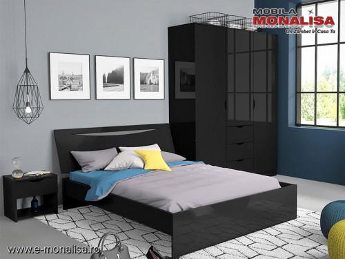 Set Mobila Moderna Dormitor Lucios Negru Letty Black