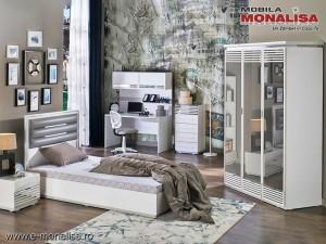 Mobila dormitor moderna Tineret - Copii Baron alb