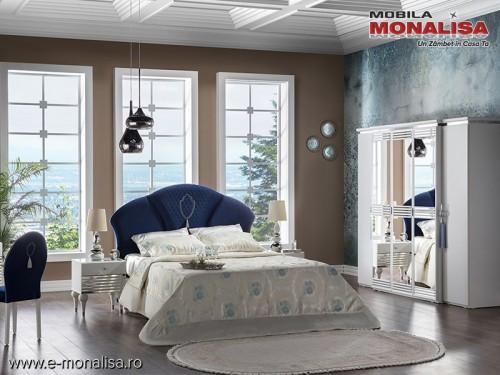 Dormitor modern lux Baron alb 5 usi oglinda pat 160x200