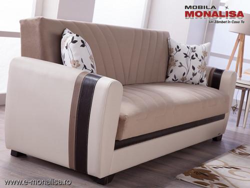 Canapea Extensibila cu lada depozitare Dynamic crem - cappuccino