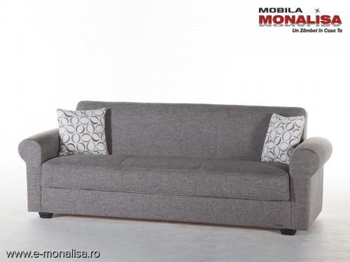 Canapea ieftina 3 locuri extensibila cu lada Elita gri de calitate