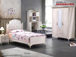 Dormitor alb tineret / copii stil clasic de lux Gold
