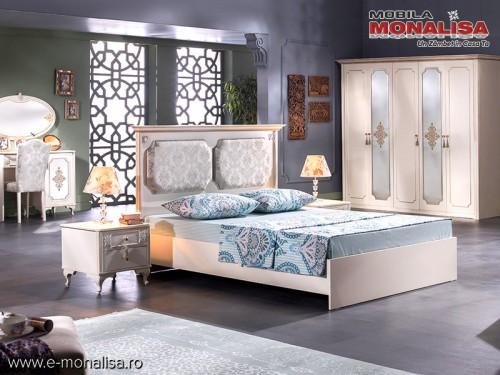 Dormitor clasic alb fildes set complet mobilier Gold de Lux