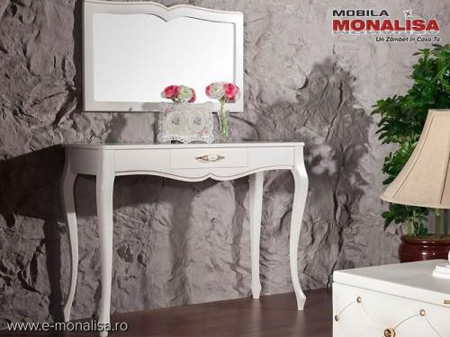 Masa de toaleta / machiaj alba stil clasic Golden de Lux