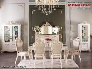 Mobila clasica sufragerie alba de Lux Gusto Regal