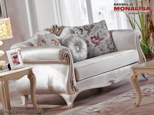 Canapea de lux alba pe stil clasic Lavinia pt. living elegant