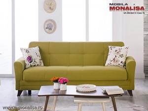 Canapea verde 3 locuri extensibila cu lada lenjerie Star