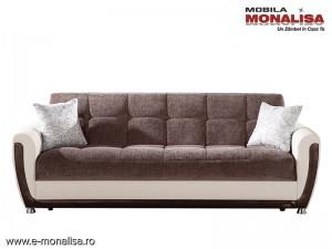 Canapea extensibila 3 locuri cu lada Vella espresso
