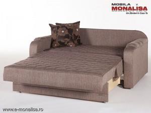 Canapea extensibila in fata tip pat Verona maro