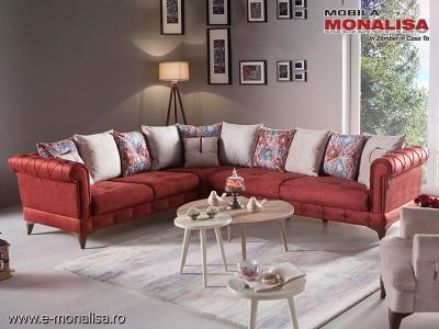Canapea de colt extensibila cu lada Vigo rosu burgundy