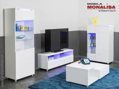 Mobila Living Alb modern MDF Lucios Newport