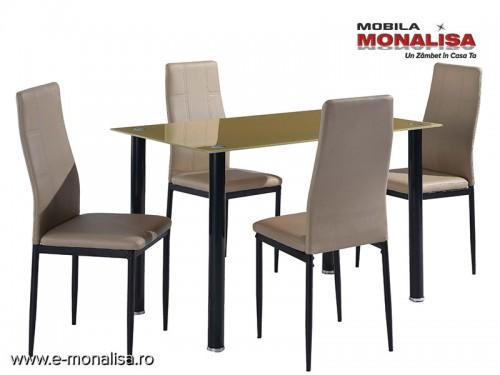 Masa bucatarie cu blat sticla si 4 scaune Camel