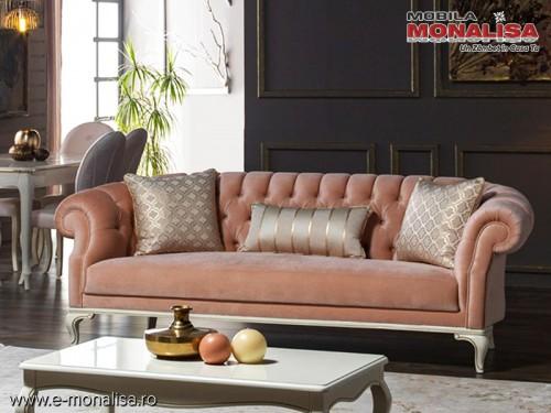 Canapea clasica de Lux roz prafuit Avangard
