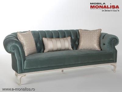 Canapea Verde Inchis Catifea si lemn alb pe stil clasic Avangard Lux