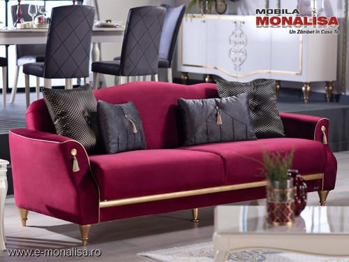 Canapea Moderna de Lux extensibila Castello Rosu Regal ⚜️