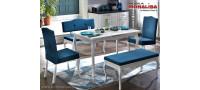 Vanzare Masa extensibila alba cu scaune si banchete Diana - Lemn+MDF Bucuresti