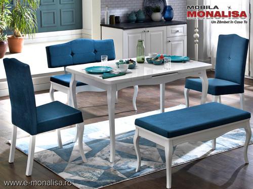Masa extensibila alba cu scaune si banchete Diana - Lemn+MDF