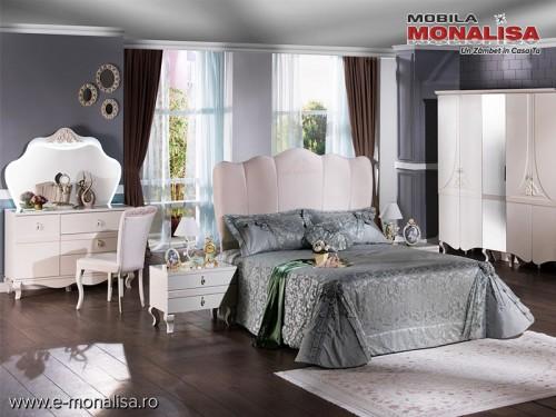 Dormitor Alb lucios Modern Elegance de Lux