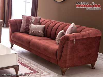 Canapea moderna eleganta Ferra rosu caramiziu 3 locuri