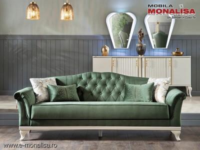 Canapea verde de 3 locuri extensibila Helen smarald Lux