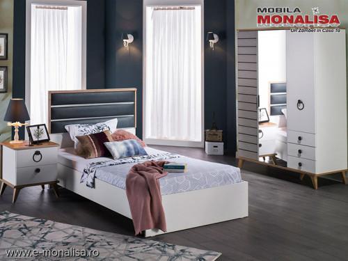 Dormitor Copii 120cm + Dulap 3 usi + Birou + Noptiera ⭐ Lavin