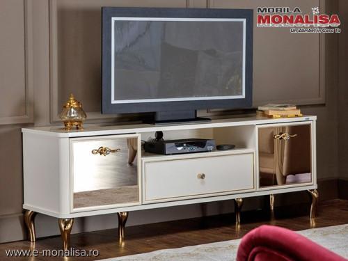 Comoda TV alba cu auriu si cristal Lorenz