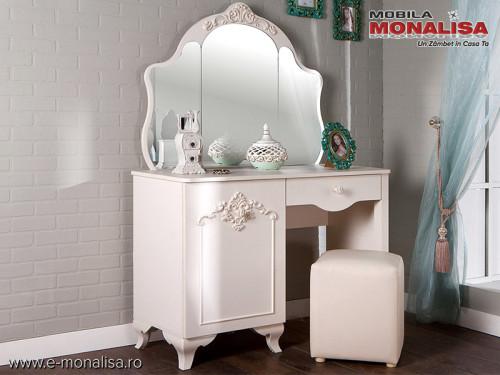 Masa de toaleta cu oglinda Mabel alb fildes ⚜️