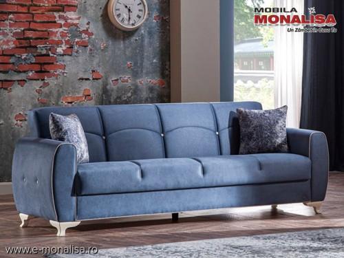 Canapea moderna extensibila cu lada 3 locuri New Lilya