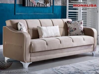 Canapea extensibila moderna New Minas crem cu alb