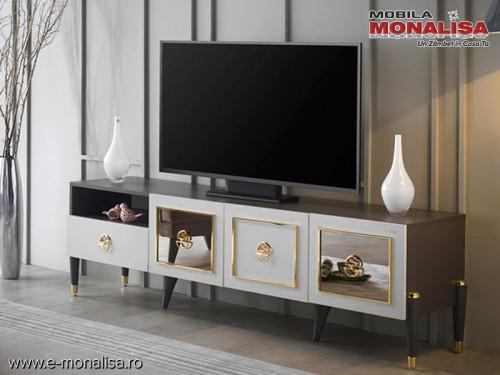 Comoda TV alb gri antracit moderna de Lux Prada