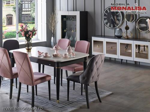 Mobila Living modern de Lux original Prada gri antracit si bej