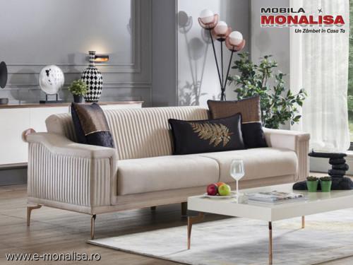 Canapea crem de 3 locuri moderna extensibila Rita