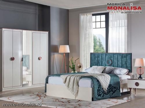 Dormitor alb sidef modern Rita - set complet