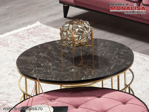 Masa si masuta cafea moderna rotunda blat marmorat Roma
