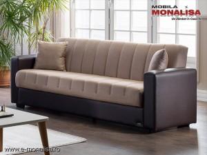 Canapea extensibila ieftina cu lada Sidney Bej