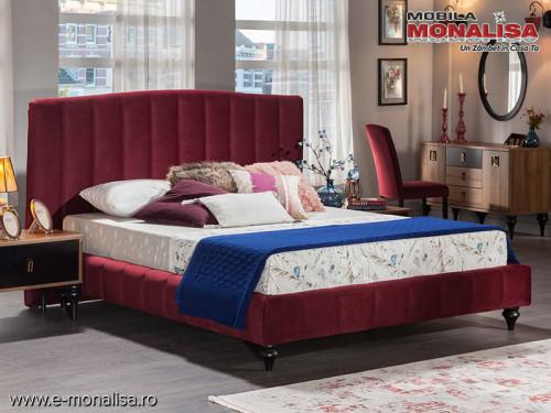 Pat tapitat elegant stofa catifea 160x200 Sofia bordo - rosu inchis